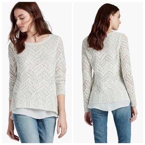 Lucky Brand Chevron Shine Layered Knit Sweater XL